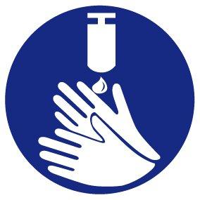 Gebotsschild aus Kunststoff - Hände desinfizieren - Ø 10 cm