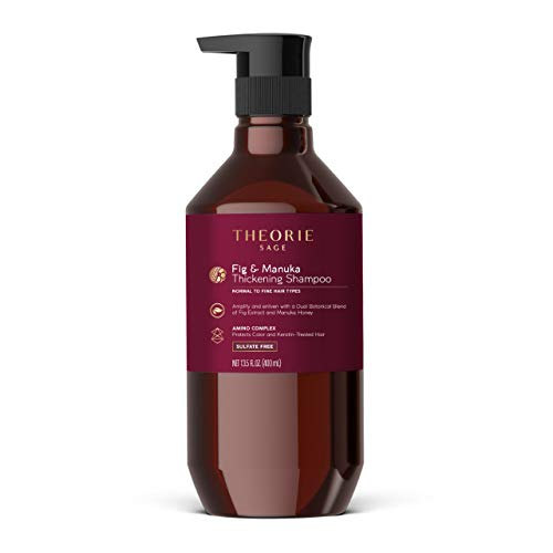 THEORIE Fig and Manuka Thickening Shampoo - Amplify & Enliven - Anti-Thinning Formula - Sulfate Free - For Normal to Fine Hair Types - Protects Color & Keratin Treated Hair, Pump Bottle 400mL