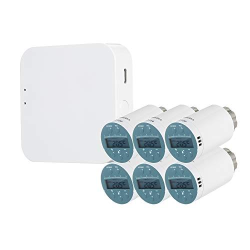 KKmoon Programmierbarer Thermostat Heizkörperventil Temperaturregler (6 Stück)SEA801-ZIGBEE mit Ein Smart-Heizkörper-Thermostat-Gateway TYGWZW-01N Kompatibel mit Amazon Alexa Google Home