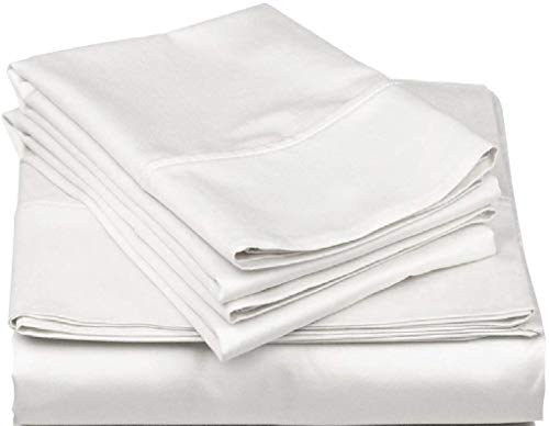"""Royal 1500 Thread Counts White Solid Emperor/Wyoming King Size 4pc Sheet Set Upto 18"""" Deep Pocket 100% Egyptian Cotton - by AP Beddings"""