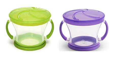 New   Munchkin 2 Piece Snack Catcher, Green/Purple