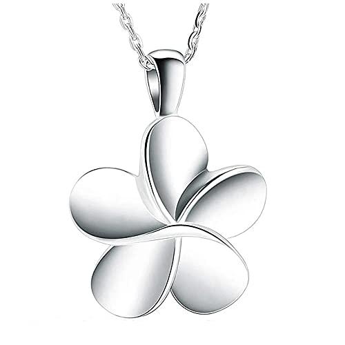 KBFDWEC Cremación de Flores de Acero Inoxidable, joyería para Cenizas, Collar de cremación, medallón conmemorativo para Cenizas, Colgantes de urna de Recuerdo para Mujeres