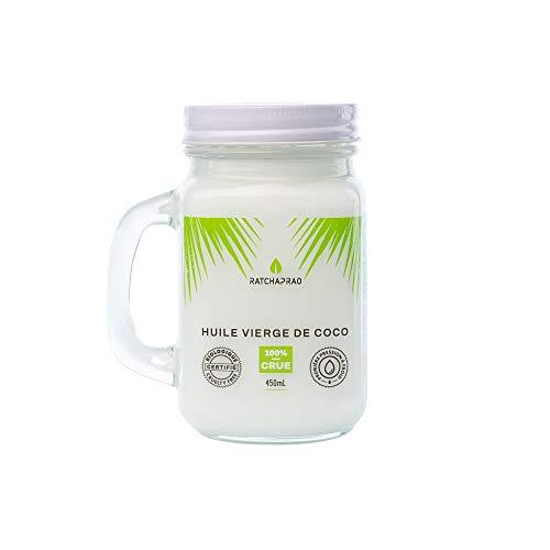 Huile de Coco Bio Ratchaprao – Vierge, 100% Crue, Pressée à Froid - Naturelle, Non Raffinée - Produit Vegan - Huile Soin Cosmétique Cheveux, Visage, Corps, Bébé - Cuisine Diététique - 450 ml