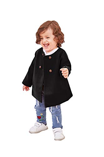 Toddler Baby Girls Coats Kids Cloak Button Warm Thick Jacket Clothes Baby Fall Winter Outwear Clothes Set (Black, 2-3 Years)