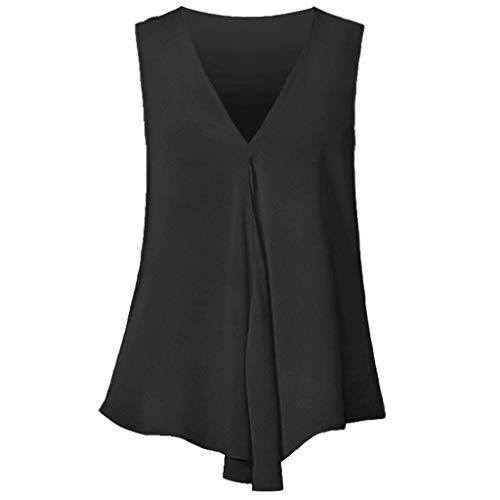 Sunsean Damen-Top, unregelmäßig, Chiffon, elegant, sexy, tief, lockere Farbe, ärmellos XXL Schwarz