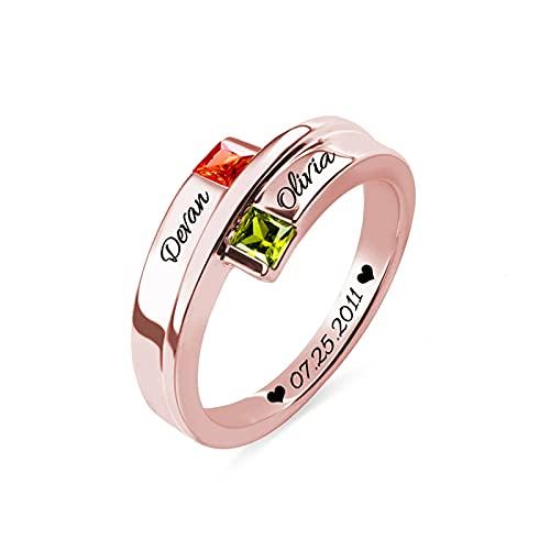 Anillo de piedra natal cuadrado personalizado, anillo de nombre, anillo de compromiso de plata para mujer, boda, cumpleaños(Oro rosa 16)