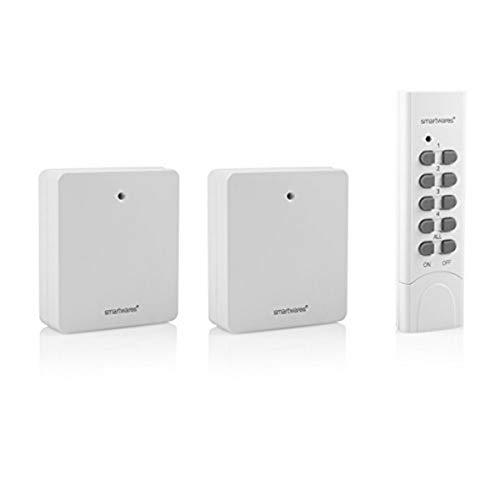 Smartwares SH5-SET-FL SmartHome 2er-Set Funksteckdosen, extra flach für Geräte bis 460 Watt mit 4-Kanal Fernbedienung