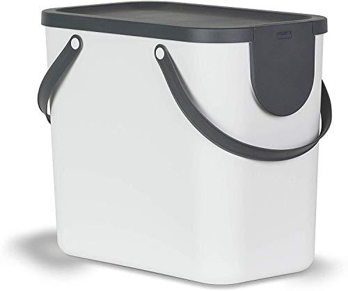 Rotho Albula Sistema di separazione dei rifiuti 25l per la Cucina, Plastica (PP) Senza BPA, Bianco/Antracite, (40,0 x 23,5 x 34,0 cm)