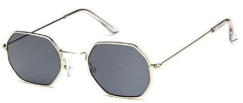 Gafas de sol octogonales - Cuadradas - Mujer - Hombre - Unisex - Idea regalo - Vintage - Retro - Moda - Niños Montura oro - Lente negra Talla única