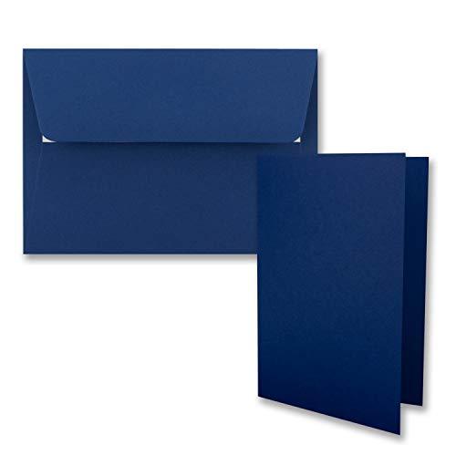 25x Faltkarten-Set DIN B6 12 x 17 cm in Dunkelblau (Blau) mit Briefumschlägen DIN B6 Haftklebung - für Einladungen und Grußkarten zum Geburtstag oder Hochzeit