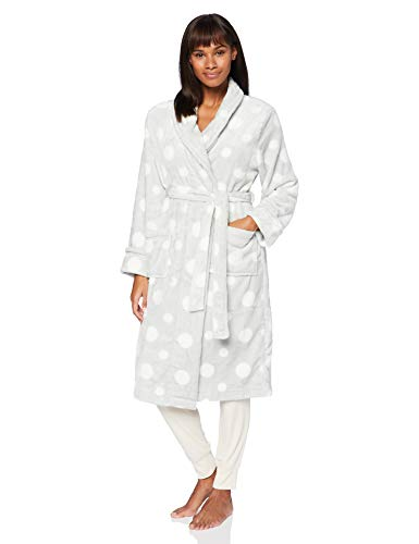 Amazon-Marke: Iris & Lilly Damen Long Plush Dressing Gown, Grau (Grey Spot), L, Label: L