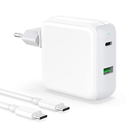 Cargador USB C Cargador Doble Rápido 48W Tipo C Fast Charger Compatible con iPad Pro 12,9/11 Air 4 iPhone 12 Pro Max/12 Mimi/11/XR/XS Macbook Air 2020/2019/2018 Samsung Galaxy S21 Goolgle LG y Cable
