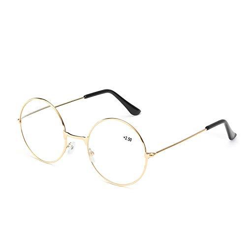 Resistentes Gafas De Lectura Redondas Metalicas Hombre Moderno Diseño De Marco Resistente Para Interiores Condiciones De Lectura