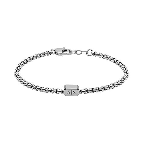 Armani Exchange Pulsera tipo cadena para hombre, de acero inoxidable en tono plateado, AXG0072040