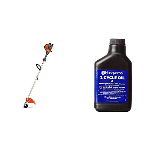"Husqvarna 128LD 17"" Cutting Path Detachable Gas String Trimmer & 610000156 50:1 Low Smoke 2-Cycle Oil 2-1/2-Gallon Mix, 6.4-Ounce"