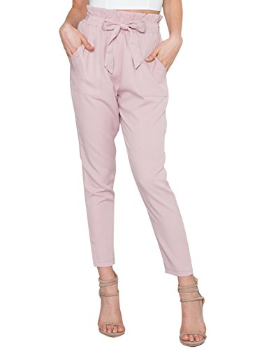 Simplee Apparel Damen Hosen Elegant High Waist Stretch Chiffon Skinny Hosen Pants Casual Streetwear Hosen mit Tunnelzug- Gr. 38 / L, Rosa