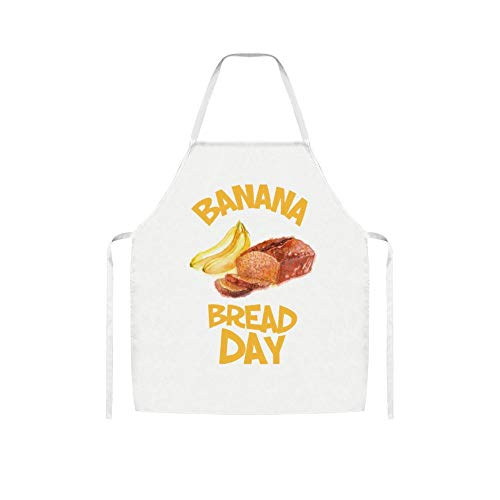 yyone Funny Apron Banana Bread Day White Cooking Apron for Unisex Kitchen Ware