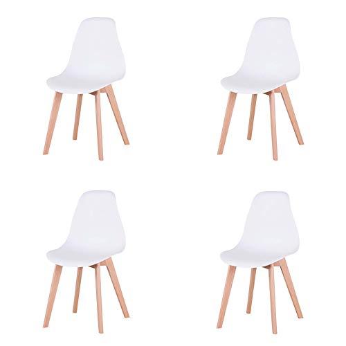 N / A Set di 4 Sedia in Stile Nordico sedie da Pranzo con Gambe in Legno massello, Sedia da Cucina Sedia da Ufficio Sedia Camera da Letto Sedia Soggiorno (Bianco)