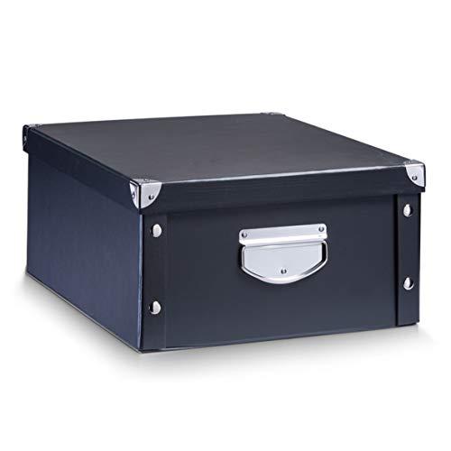 Zeller 17928 Aufbewahrungsbox, Pappe, schwarz, ca. 40 x 33 x 17 cm