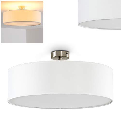 Deckenleuchte Foggia, runde Deckenlampe mit Lampenschirm aus Stoff in Weiß, Ø 50 cm, LED-fähig, 3 x E27-Fassung, 40 Watt, Retro-Design