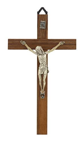 Crocifisso da parete in legno di noce con Cristo in metallo - 17 cm
