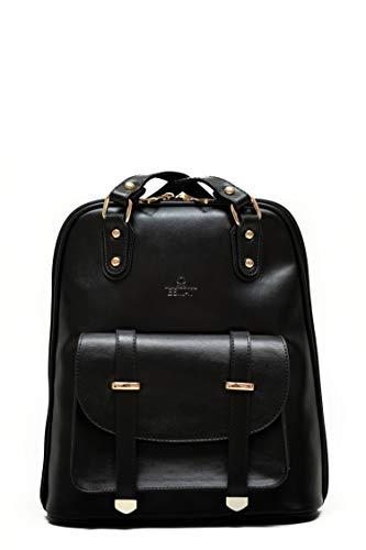 ESMAY DUBAI – handgefertigte vegane Ledertasche | 3-in-1 Handtasche, Umhängetasche, RucksacK (SCHWARZ)