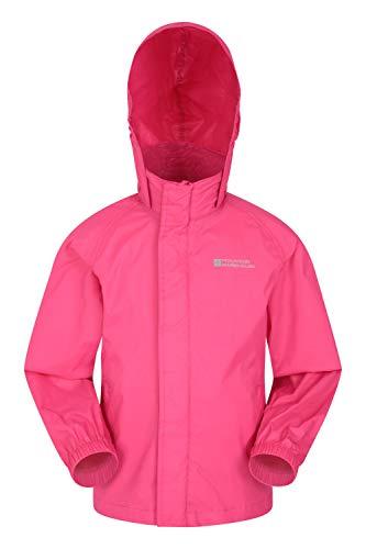 Mountain Warehouse Pakka wasserdichte Kinderjacke - 2 Taschen Kinderjacke, atmungsaktiv, packbare Regenjacke - Ideal zum Wandern leuchtendes Pink 13 Jahre