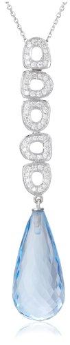 Miore Kette Damen 0.37 Ct Diamant Halskette mit Anhänger Edelstein/Geburtsstein Topas in Blau und Diamanten Brillanten Kette aus Weißgold 18 karat / 750 Gold, Halsschmuck 45 cm lang