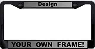 Custom Personalized Black Plastic Car License Plate Frame with Free caps - Steel/Black