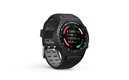 PAGHY 1.3 Reloj inteligente con pantalla táctil, rastreador de fitness con tarjeta de posicionamiento GPS al aire libre, impermeable IP68 para hombres y mujeres para iPhone Android Teléfono-gris
