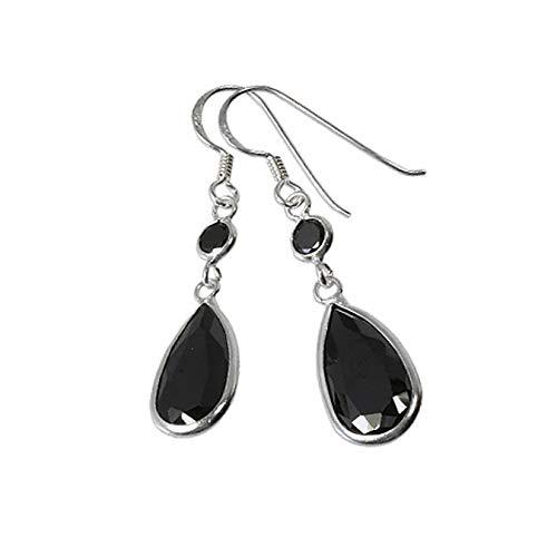 SilberDream Ohrringe Damen Silber Ohrhänger Tropfen Zirkonia schwarz SDO8601S