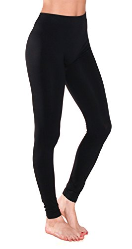 Sofra Women's Full Ankle Length Seamless Leggings  Fleece Lining Inside  Black   Fleece Juniors One Size Black Fleece Juniors One Size