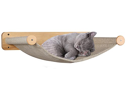Purife Cat Hammocks Wall Mounted for Indoor Cats -Large Cat Shelves and Perches for Wall, Wall Beds & Furniture for Kitty or Cats, Sturdy Soft Hammock Beds for Climbing, Playing, Sleeping, Lounging