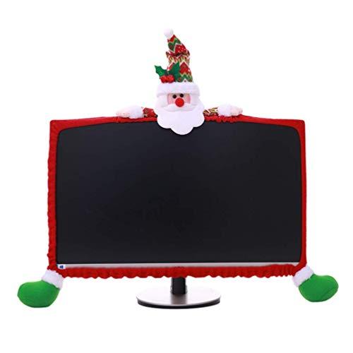MxZas Weihnachten Computerbildschirm Abdeckung Weihnachten Rand Border-Abdeckungs-Schutz Elastic Laptop-Computer Cover, Sankt-Ren-Schneemann, 25-35inch Jzx-n (Color : Santa, Size : 2535inch)