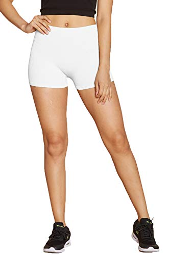 Urban Look Super Stretch Body Enhancing Workout Yoga Biker Shorts (Small/Medium, Short White)
