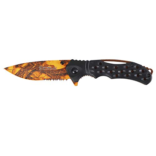 iFIELD EL29033 coltello da caccia pieghevole Bushcraft Sopravvivenza Escursionismo Campeggio, lama in acciaio inox decorare con manico in ABS nero con bordo color rame, Made in Albacete (Spagna)