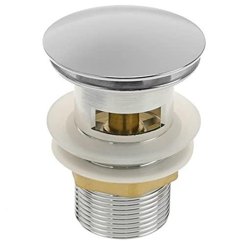 PrimeMatik - Valvola di Scarico 9cm con troppopieno. Valvola Pop-up per lavandino e piletta Universale G1-1/4 Cromato