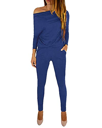 YOINS Jumpsuit Damen Elegant Langarmshirt Damen Overall Off Shoulder Strand Romper Lang Einfarbig A-blau L