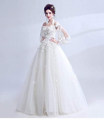 YT-RE Prinzessin Hochzeitskleid Mode Organza Hochzeit Blume Trompete Ärmel Trägerlosen Brautkleid Spitze Perlen Engel Kleid, Weiß, L