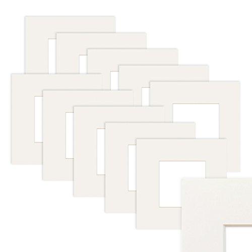 Photolini 10 Unidades de Papel paspartú en Color Blanco 15x15 cm (10x10 cm)