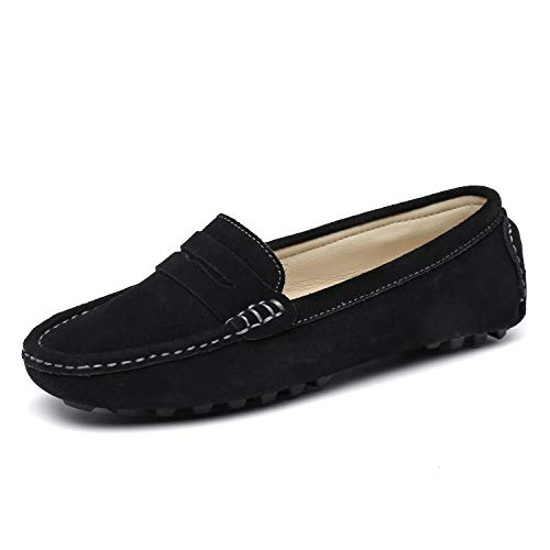 SUNROLAN 808-2hei9 Womens Classic Driving Loafers Genuine Leather Casual Slip On Boat Shoes Comfort Flats Black US 9