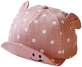 Baby Decoration Hat Baby Ear Style Dot Baseball Cap Kids Outdoor Sun Visor Sweat Sun Hat for 1-2 Years Old Cute Cap (Color : Pink, Size : 48cm)