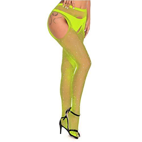 MengPa Fishnet Stockings Rhinestone High Waist Tights Pantyhose Sheer for Women (Yellow) J2452E-Q