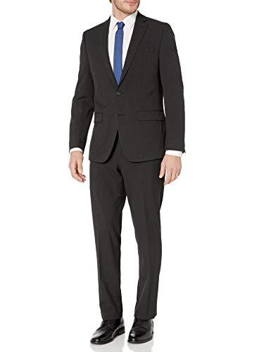 Van Heusen Men's Modern Slim Fit Flex Stretch Suit, Black Sharkskin, 44 Regular