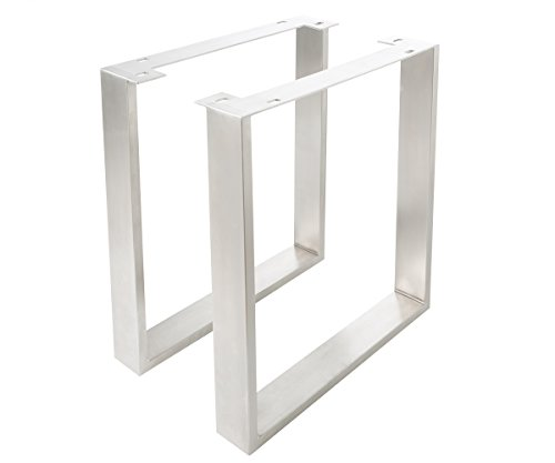 DELIFE 2er Set Tischgestell Edelstahl gebürstet schmal 9,5x2,5 cm Tischbeine Gestell