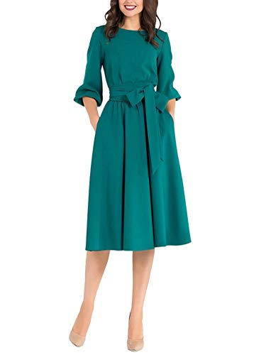 Minetom Mujer Vestido de Fiesta Cóctel Noche Ceremonia Elegante Manga 3/4 Swing Vestidos con Cinturón Moda Cuello Redondo Una Linea Midi Dress Verde ES 34