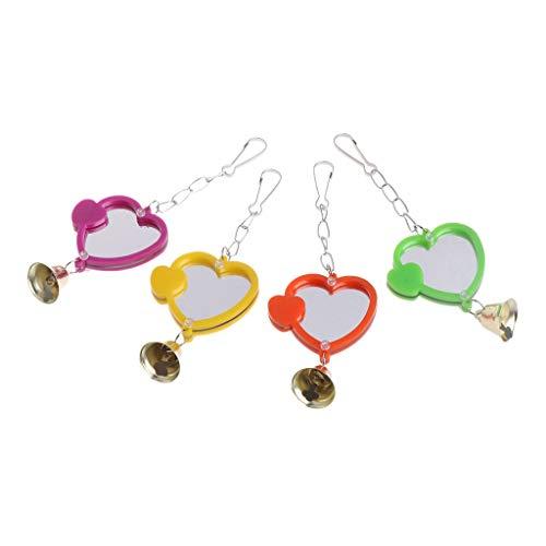 OgquatonLustige Mini Vogel Spiegel Spielzeug mit Glocke Stehen Spiegel Papageien hängen Spielen Spielzeug Premium-Qualität
