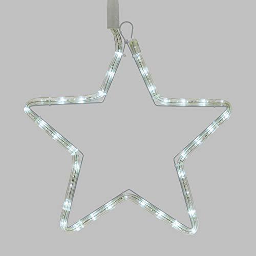 XMASKING Stella 30 Cm In Tubo Luminoso, 36 LED Bianco Freddo, Effetto Flashing, Stella Di Natale, Stella Luminosa, Decorazioni Natalizie, Decorazioni Luminose