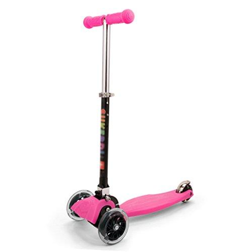 Sportausrüstung DH® Kickroller, 18-10 Jahre Alt Kinderroller 3 Rad Baby Schlitten Zusammenklappbar Höhenverstellbar (Farbe : Rose rot)