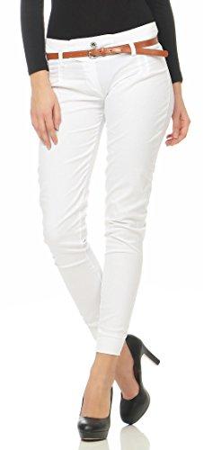 Malito Damen Chino Hose inkl. Gürtel | Stoffhose mit Stretch | lässige Freizeithose | Skinny - elegant 5396 (weiß, XL)